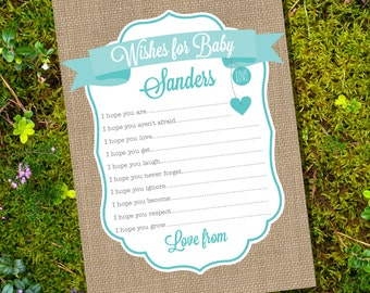 Burlap Wishes for Baby Card - Advice Card - Baby Shower Game - Instant Download and Editable File - Personalize at home with Adobe Reader
