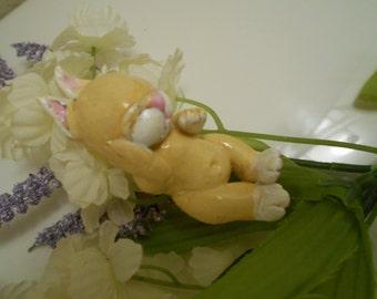Ooak Art Pure Sculpt Sleeping Baby Bunny...Handmade.