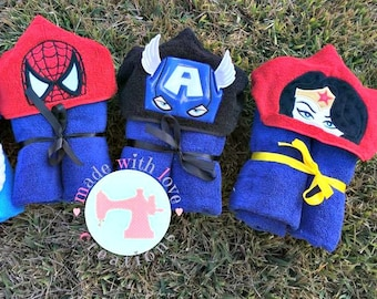Superhero Hooded Towels-Captain America Towel-Ironman Towel-Wonder Women Towel-Batman Towel-Character Towel-Hooded Towel-Kids Hooded Towel