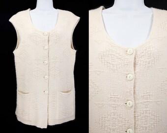 10 Dollar SALE---Vintage 70's ROSA LEE Off White/Cream Long Sweater Vest M/L