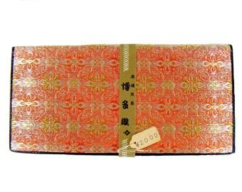 Vintage Early 50's Deadstock Japanese Orange Hakata Weaving Folding Wallet
