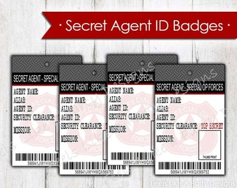 Secret Agent Spy ID Badges - Instant Download