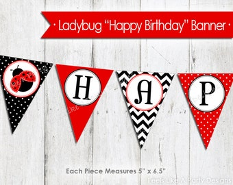 Ladybug Happy Birthday Banner - Instant Download