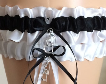 Wedding Garter Set, Bridal Garter Set, Black and White Garter Set, Keepsake Garter,