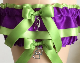 Wedding Garter Set, Bridal Garter Set, Green and Purple Garter Set, Keepsake Garter, Prom Garter