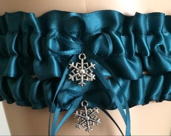 Teal Wedding Garter Set, Bridal Garter Set, , Prom Garter
