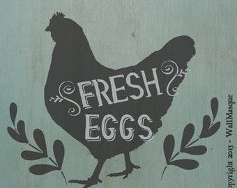 Fresh Eggs Stencil - 2 Overlays
