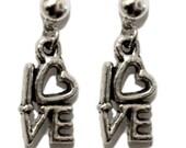 love earrings, love earings, i love you earrings, small dangle earrings, silver dangle earrings, simple earrings, simple jewelry