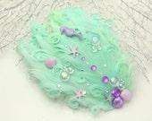Mint Mermaid hair clip,  little mermaid headband, mermaid fascinator, seahorse hair clip, little mermaid, kawaii hair clip, beach wedding