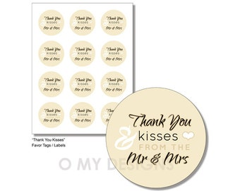 Wedding Printable Favor Tags Labels Thank You Kisses Party Fillable ...