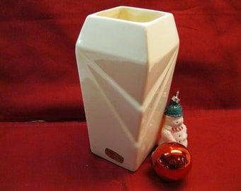 Haeger White Deco Style Pottery Vase