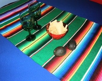 Green Mexican Table Runner Made From Serape Cloth - Green with Bright Mexican Colors - Picnics, beach parties, birthday parties