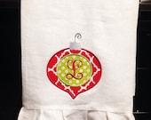 Monogrammed Monogram Decorative Linen Hand Towel Initial Ornament Red Green Peraonalized Ruffle Gift