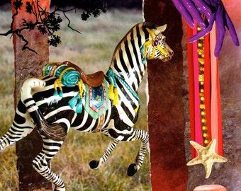 Whimsical Zebra Starburst Collage Art Prints