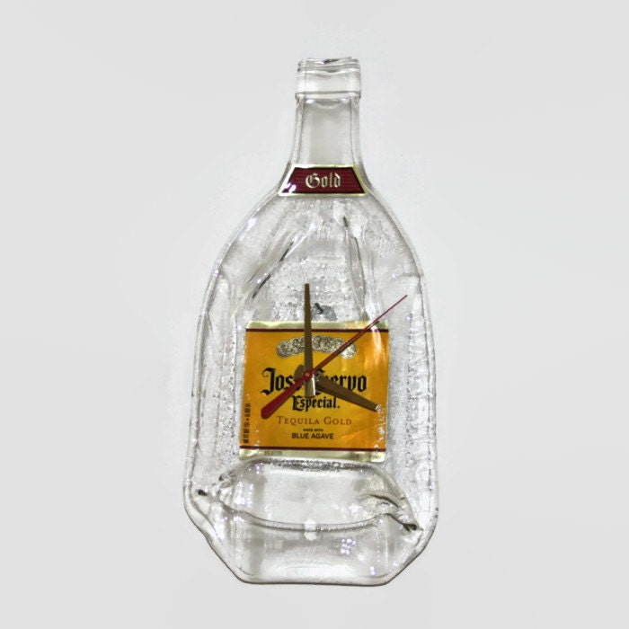 Jose cuervo wall clock handmade melted bottle gift man cave - How do you melt glass bottles ...