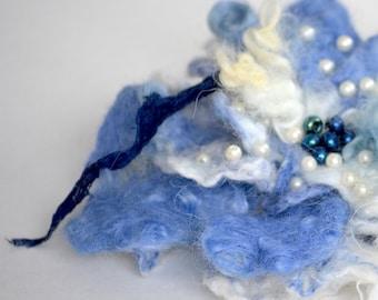 Blue sky  - abstract flower brooch - big fantasy flower pin - wool felted flower brooch - OOAK - ready to ship