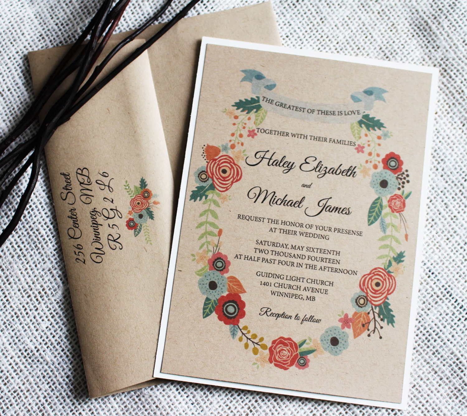 Rustic Wedding Invitation Romantic Wedding Invitation