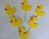 12 Duck Cupcake Toppers, Rubber Duck,Duck Birthday, Ducky Baby Shower, Ducky Cupcake Topper Yellow