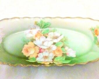 Victorian Rose Hand Painted Bavarian Porcelain Dish
