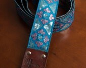 Blue/Coral Embroidered Sequin Guitar Strap
