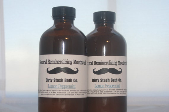 Natural  Remineralizing Mouthwash with Organic ingredients- Lemon Peppermint