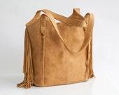 10% Off Camel Leather Bag - Large Bag - Fringe Leather bag - Soft leather bag - Travel Bag - Women leather tote bag