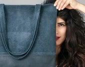 Navy leather tote bag - Vegan Leather Bag - Laser cut bag - Vegan leather bag - Women Tote Bag