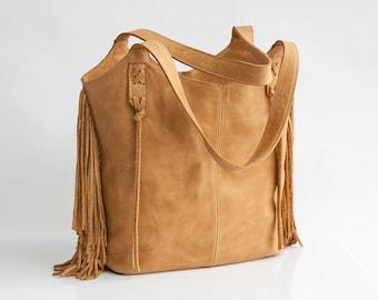 Camel Leather Bag - Large Bag - Fringe Leather bag - Soft leather bag - Travel Bag - Women leather tote bag