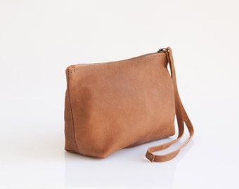 Light brown leather clutch - Small leather purse -  Soft Leather wristlet - Zipper pouch  - Women purse -  Handmade Leather Pouch
