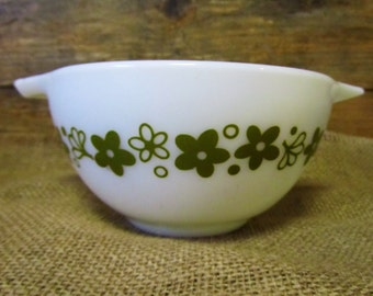 Small Vintage white Pyrex Bowl with green flowers