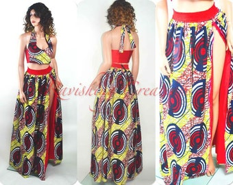 African Print Maxi Dress Ankara Maxi Print African Long Two Piece Halter Dress