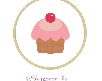 Cross Stitch Pattern - Pink Cupcake Cherry - Easy Beginner Printable PDF Instant Download
