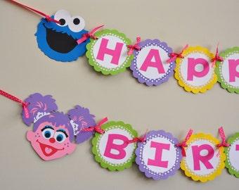 Girly Sesame Street Banner, Sesame Street Birthday Party