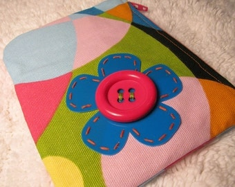 Large Coin Purse -  Retro Home Decor Print Change Purse - Pink, Black, Lime Green, Yellow, Orange, White, Blue Small Purse - Upcycled