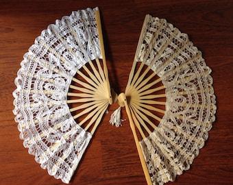Handmade Battenburglace Fans (White&ivory colors)