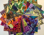 "African print. Set of 20 different 8"" x 8"" squares."
