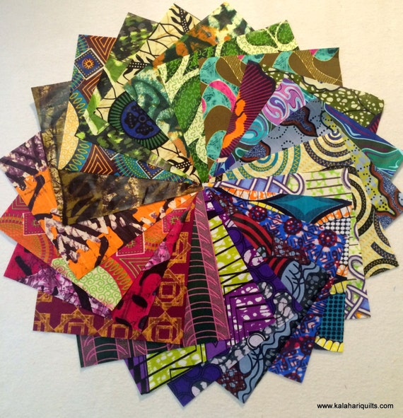 """African print. Set of 20 different 8"""" x 8"""" squares."""