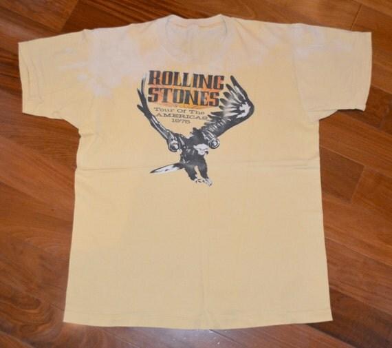 1975 The ROLLING STONES vintage concert tour rare original rock t-shirt X-Large L/XL Keith Richards Mick Jagger