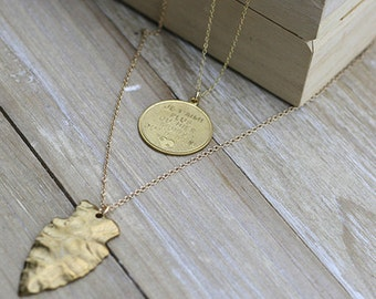 Double Chain Coin and Arrowhead w/Gold Necklace