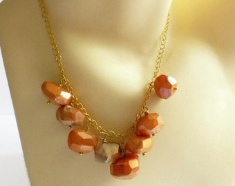 Chalcedony necklace, orange chunky necklace, gold sterling chain, UK shop.
