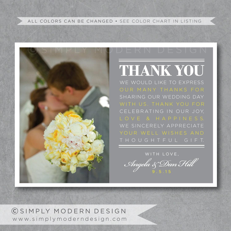 Modern Wedding Thank You Card PRINTABLE By SimplyModernDesignCo