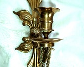 """Vintage Brass Wall Sconce Candle Holder 12""""  Heavy Pineapple Design Holiday Candles Wall Decor Chic Hollywood Regency"""