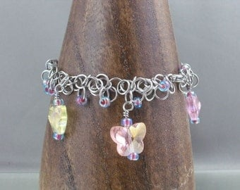 Shaggy Loops Butterfly Charm Chainmaille Bracelet