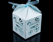 Baby Blue Checkered Carriage Laser Cut Paper Favor Boxes Baby Boy Baby Shower Sprinkle