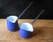 Set of 2 Deep Blue Enamel Butter Warmers/Turkish Coffee Pots