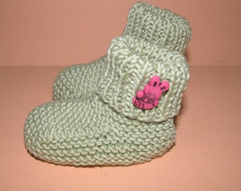 Hand Knitted Organic Cotton Green  Baby Booties