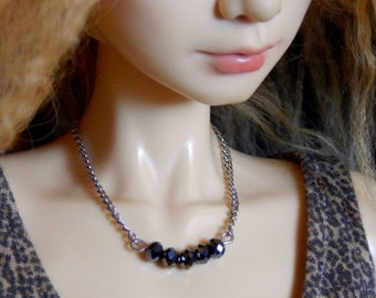 bjd doll necklace - delicate black beads - modern simple ball joint doll jewelry - SD or American Model