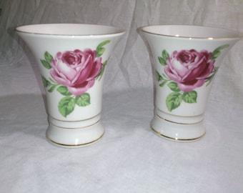 Pair of Schumann German Red Rose Vases