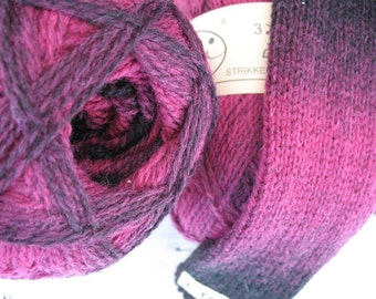 Hot Pink Purple Plums Black Kauni EYC 2 ply wool sport weight yarn. Knit Crochet and Felt. Imported from Denmark. Ships from USA