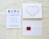 DIY Embroidery Kit - Embroidered Heart Card
